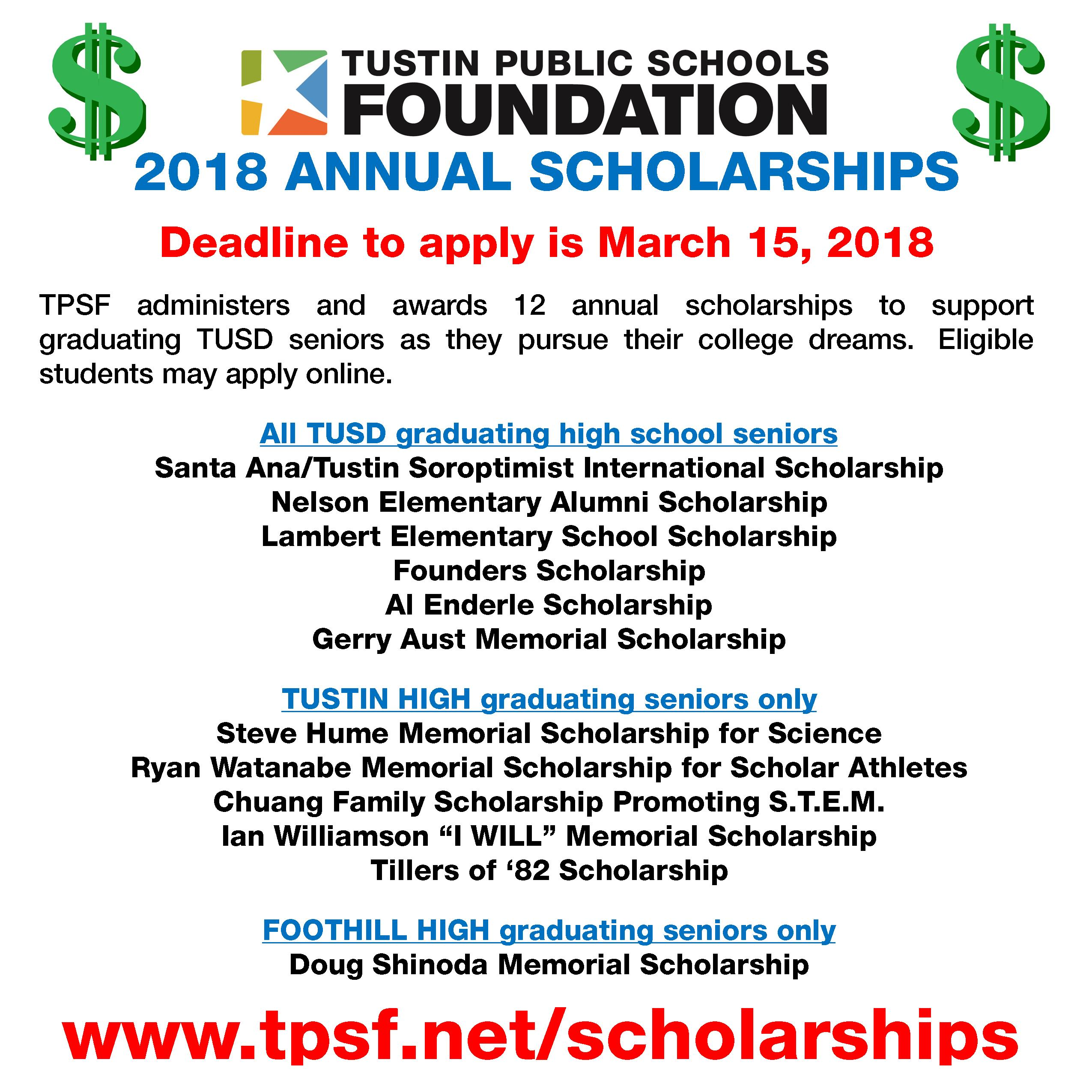 TPSF 2018 Scholarship Ad